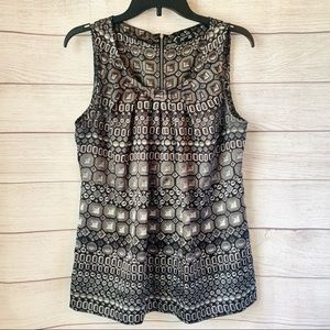 Apt 9 Black & White Geometric Sleeveless Blouse